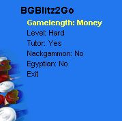 one screen with settings for BGBlitz2go